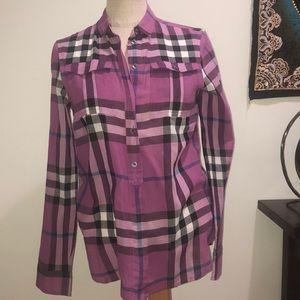Burberry Tops - Burberry 100% cotton purple plaid blouse XS